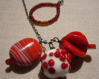 Triple Red and White Vintage Bead Lariat