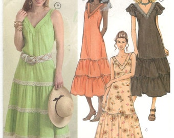 Butterick 4793 Size 16, 18, 20, 22 Women's plus size sewing pattern. Sleeveless or short sleeve summer dress, tiered gathered a-line skirt