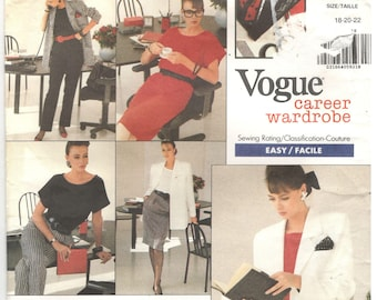 Vogue 2023 Size 18, 20, 22 Women's plus size dress, top, jacket, skirt or pants sewing pattern: short sleeve top or straight dress, blazer