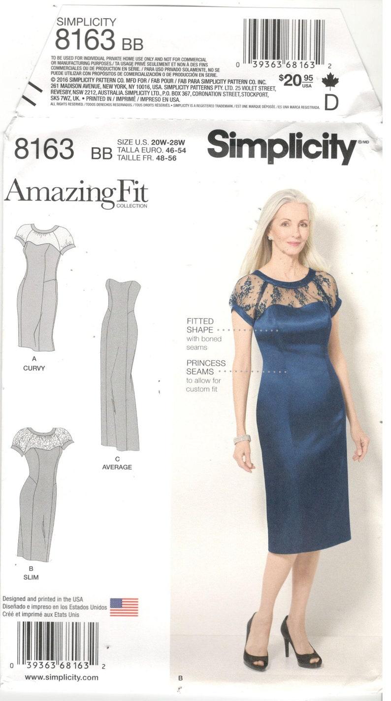 Simplicity 8163 Size 20W, 22W, 24W, 26W, 28W Plus size dress sewing  pattern: princess seam, slim dress, strapless, short sleeves, long