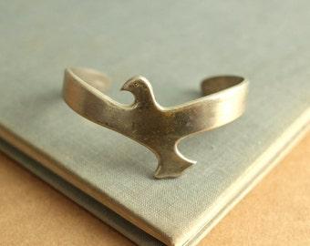 silver bird bracelet cuff boho vintage bird tribal spring fashion