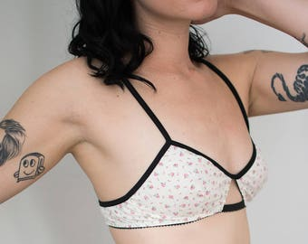 Infusion Cut Out Bralette in Vintage Ditsy Floral / Cotton Lingerie, Custom Bralette, Eco Friendly Lingerie, Upcycled Fabric, Floral Bra