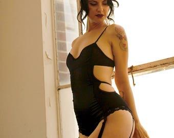Eternal Daze Bodysuit in Black Silk Charmeuse / Strappy Bodysuit, Custom Lingerie, Eco Friendly Intimates, Silk Bodysuit