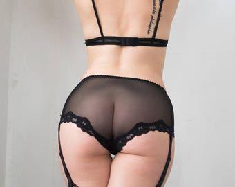Demeanor Garter Short in Sheer Black Mesh / Garter Short, Custom Sized Lingerie, Sheer Panties, Removable Garters, Seamless Panties