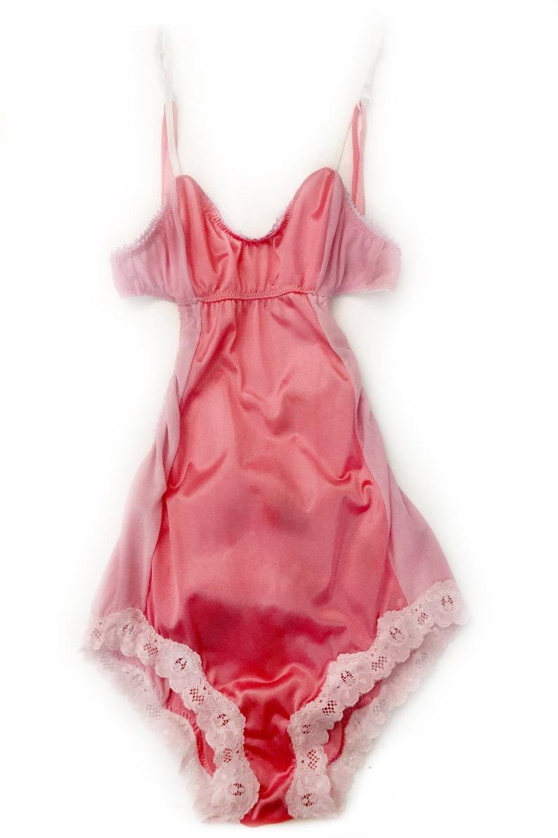 eco friendly bodysuit upcycled lingerie custom size vintage lingerie Eternal Daze Bodysuit in Vintage Pink Nylon  strappy bodysuit