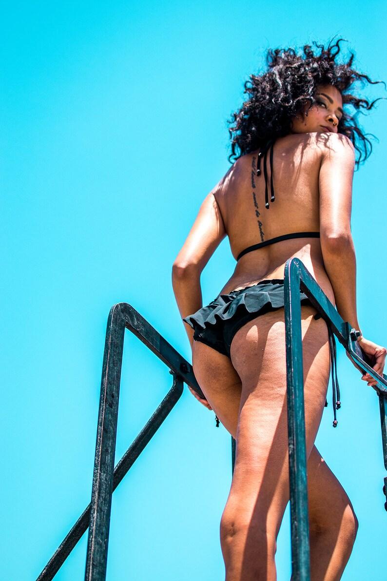 3d5d56a879639 Sonar Ruffle String Bikini Bottom   black bikini string