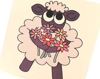 "Thank Ewe Card - a square thank you card with a cute sheep holding flowers. Cartoon sheep greeting card reads ""a little thank ewe"" inside"