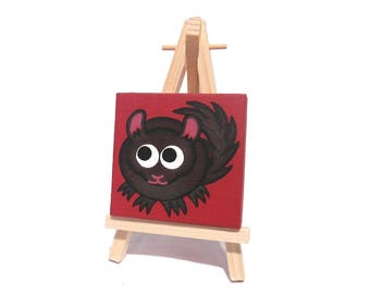 Black Chinchilla Miniature Art - original acrylic painting of a cute fluffy chinchilla on red. Cartoon rodent art on mini canvas with easel