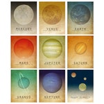 Solar System Print Set of 9, Space Decor, Astronomy Gift, Space Gift, Space Posters, Kid's Room Decor, Nursery Art, Planet Posters, Pluto