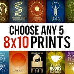 8x10 Art Print Set Personalized Gift Geek STEM Gift Science Posters Inspirational Quotes Book Lover Gift Science Teacher Gift Planet Prints