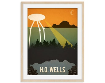HG Wells Book Lover Art Print, Writing Gift, War of The Worlds SciFi Poster, UFO Art, Bookworm Gift, Vintage Travel Poster, Librarian Gift