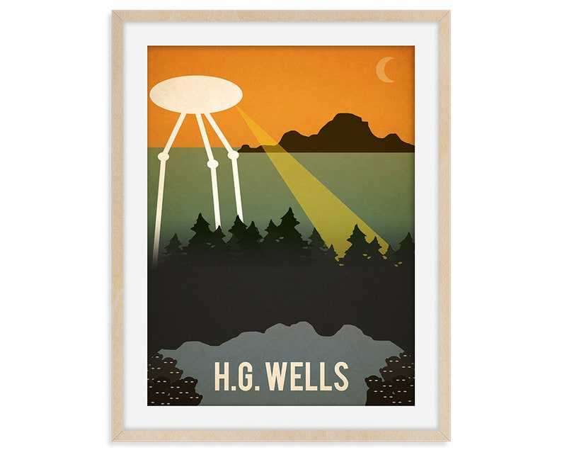 HG Wells Print Classic Book Wall Art Book Art Literary Gift image 0