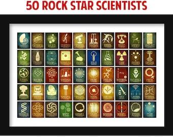 Science Classroom Decor, Famous Scientist Art Print, Science Illustrations, Kids Bedroom Infographic Poster, School Decor, Teacher Gift