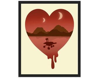 NASA Mars Rover Poster, Martian Landscape Art Print, Outer Space Travel Decor, Astronaut Bedroom, Astronomy Gift, Phobos and Deimos Moons