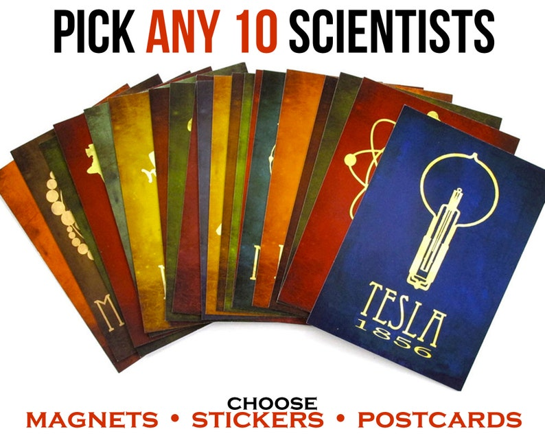 Science Sticker Pack Postcard Set Nerdy Fridge Magnets image 0