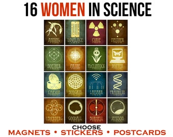 Women In Science Laptop Stickers, Feminist Stickers, Fridge Magnets, Geek Stationary Postcards, Inspirational Women's Gift, Vinyl Decal