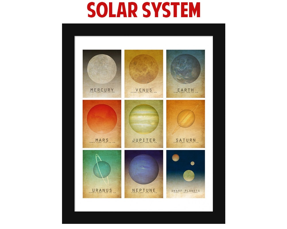 Space Art Solar System Mosaic Wall Art Print Space Poster | Etsy