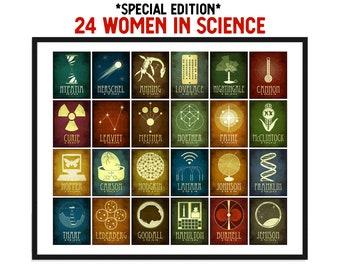 24 Women in STEM Art Print, Special Edition Woman Scientist Poster, Inspirational Girls Decor, Feminist Poster, Science Teacher Gift