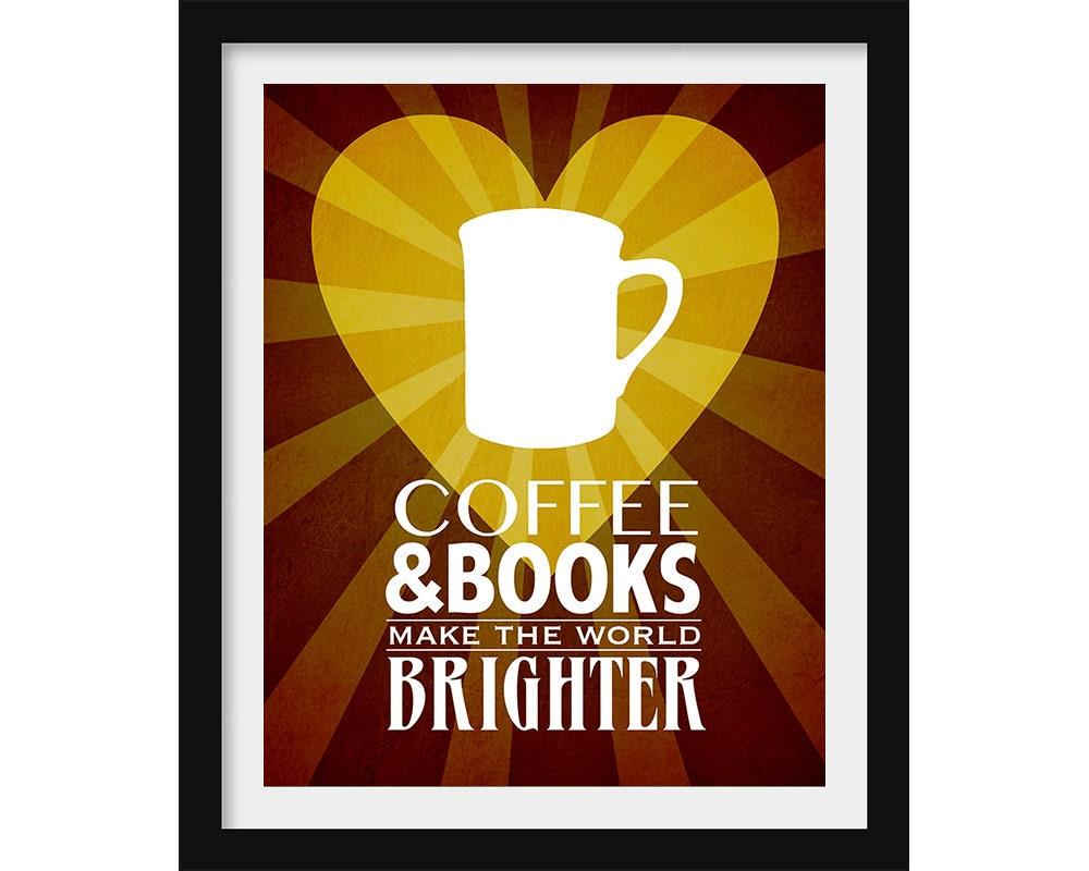 Coffee Gift Book Lover Gift Coffee Art Print Happy Art   Etsy