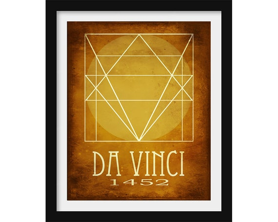 Leonardo Da Vinci Minimalist Wall Art Artist Gift Minimalist
