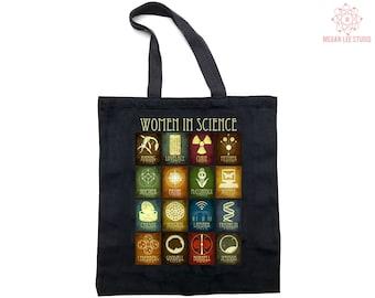 Women in Science Tote Bag - Reusable Grocery Bag Feminist Art-  Scientist Teacher Gift - Canvas Shopping Bag, Environmentally Friendly Gift