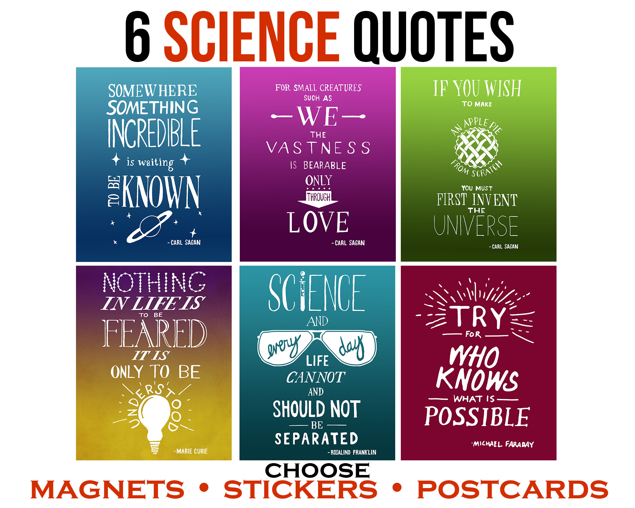 Science Quotes | Inspirational Quotes Sticker Pack Women In Science Gift Etsy