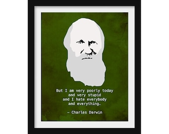 Charles Darwin Grumpy Art Print  - Funny Quote, Minimalist Decor, Science Gift for Teacher, Antisocial Introvert Gift