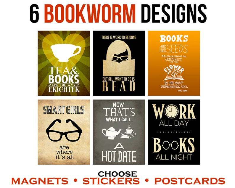 Bookworm Gift  Book Stickers  Fridge Magnets  Geeky image 0
