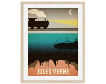 Jules Verne Book Poster, Author Art Print, Home Library Decor, Vintage Travel Poster, Bookworm Gift, Book Lover Art, Bookworm Librarian Gift