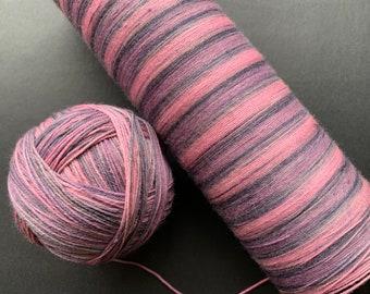 Self striping sock yarn 2 - 75/25 superwash merino and nylon sock yarn, fingering weight 4-ply, OOAK - pink, grey, purple