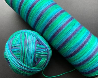 Self striping sock yarn 1 - 75/25 superwash merino and nylon sock yarn, fingering weight 4-ply, OOAK - green, purple, blue