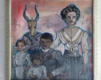 African American Family portriat with gazelle skull - Original Surreal Acrylic Portrait - Born to be Wild