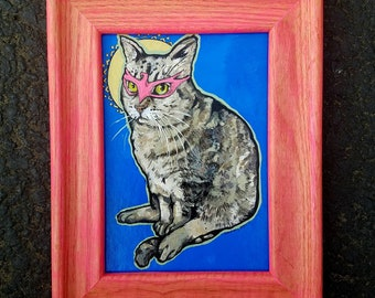 Ornate Neon pink Framed Phoenix SuperHero kitty cat painting on board - maine coon gray tabby