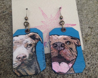 Pitbull hand-painted dog earrings - brown and blue