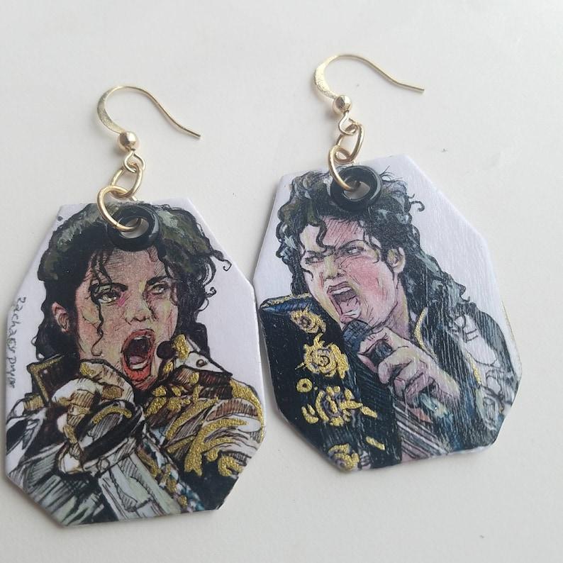 Michael Jackson King of Pop hand-painted earrings
