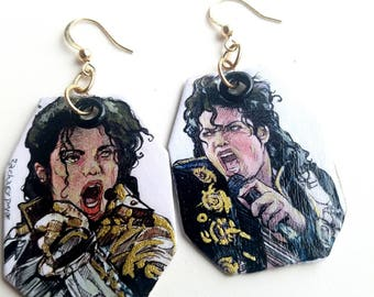 Michael Jackson King of Pop hand-painted earrings