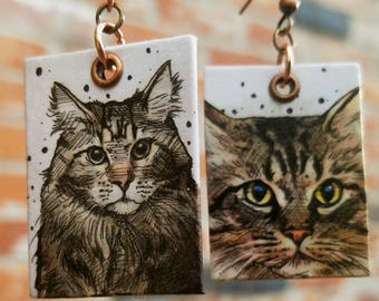 Maine Coon hand-painted cat earrings