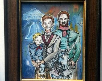 Philadelphia Unicorn Family Portrait - My two dads and my weird sister - Original Surreal Acrylic Portrait