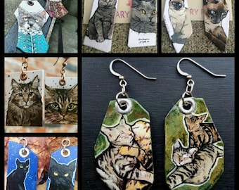 Your Kitty - custom hand-painted cat charm earrings