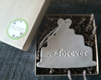 Wedding Cake Keepsake  Christmas Ornament Ceramic with text Forever