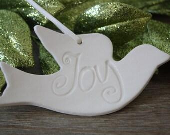 Christmas Ornament Ceramic Christmas Ornament Dove Christmas Ornament Handmade Ceramic Christmas Ornament Joy Dove
