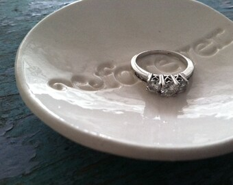 Ring Dish, Ring Bowl, Wedding Gift, Engagement Gift, Ceramic Ring Dish Forever Design in Classic White