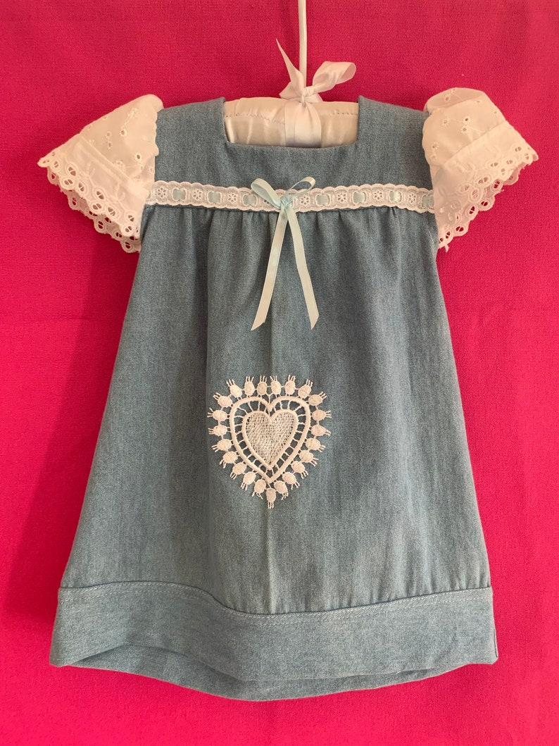 miss haidee baby tunic dress top 0 to 3 years  chambray soft cotton denim   ONLY ONE