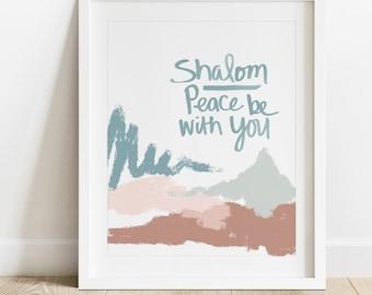 Shalom- Instant Download,Modern Judaica Wall Art, Jewish Home Decor, Jewish Print, Peace In Hebrew,  Modern Jewish Art