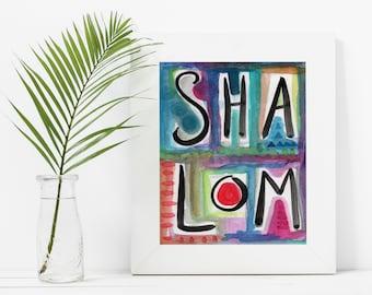 Colorful Shalom - Instant Download, Digital Art Print, Judaica, Jewish Home, Modern Jewish Printable Art Watercolor