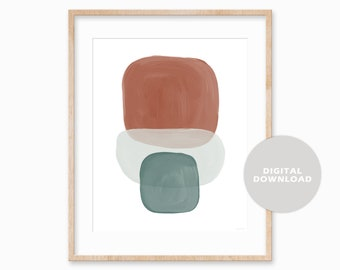 Abstract Shapes Printable Wall Art, Digital Print, Neutral Wall Art Print, Minimal Modern Art, Simple Abstract, Burnt Orange