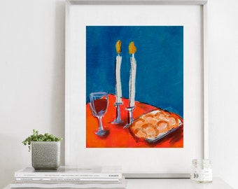 Friday Night Lights - Modern Jewish Printable Art, Shabbat, Family, Wedding Gift, Judaica