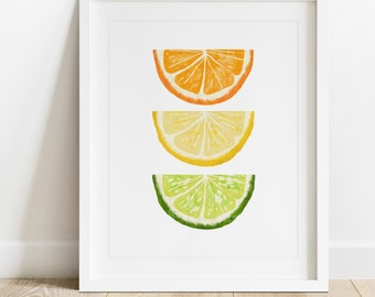 Orange Lemon Lime- Digital Printable Wall Art, Digital Download Art, Fruit, Foodie, Citrus, Summer, Spring, Tropical