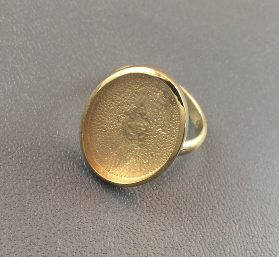 Sterling Silver Ring Blank 15mm Round Bezel Cabochon Setting Adjustable Finding