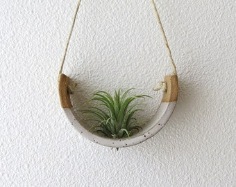 Lovely Small Hanging Air Plant Holder Speckle Buff Stoneware Clay Dipped in Gloss White Planter
